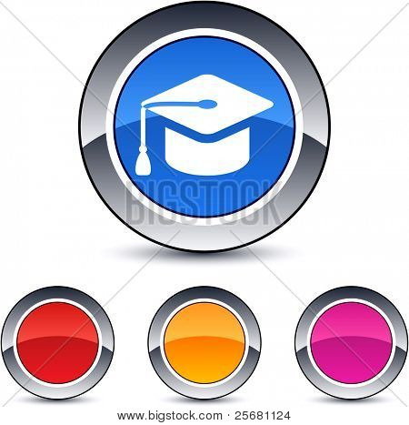 Graduation glossy round web buttons.