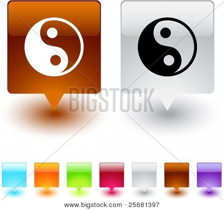 yinyang glossy square web buttons.