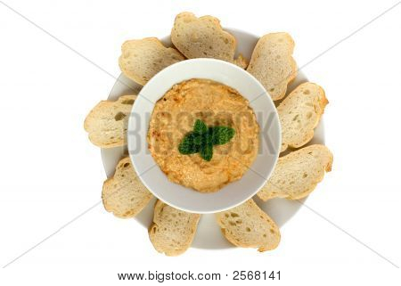 Hummus Dip With Bread Slices