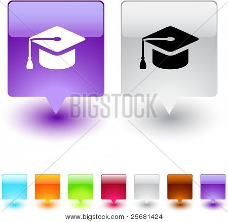 Graduation glossy square web buttons.