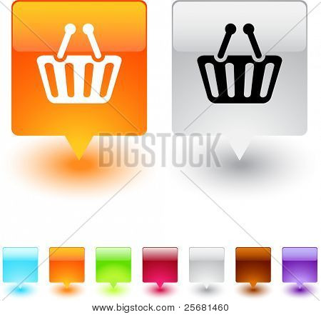 Shopping cart glossy square web buttons.
