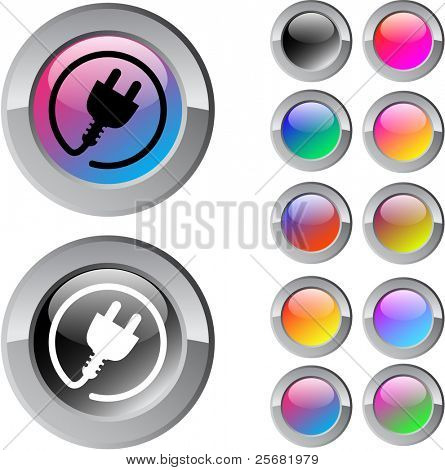 Power plug multicolor glossy round web buttons.