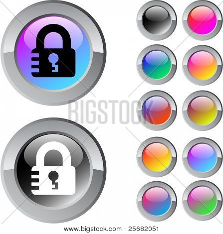 Lock multicolor glossy round web buttons.