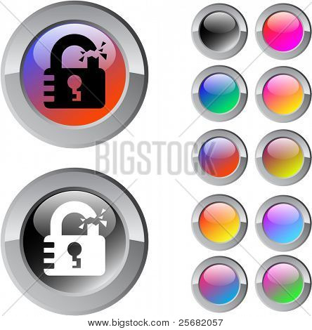 Unlock multicolor glossy round web buttons.