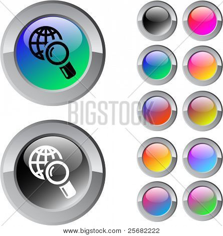 Global search multicolor glossy round web buttons.