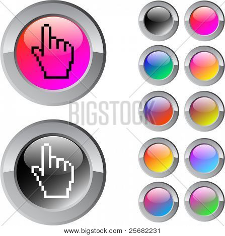Pixel hand multicolor glossy round web buttons.