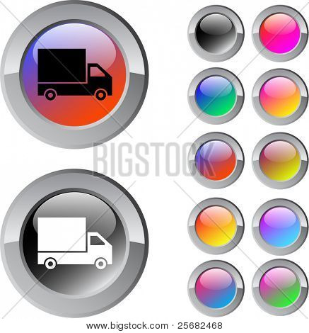 Delivery multicolor glossy round web buttons.