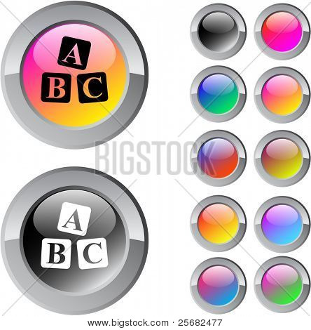 ABC cubes multicolor glossy round web buttons.