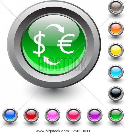 Money exchange  metallic vibrant round icon.