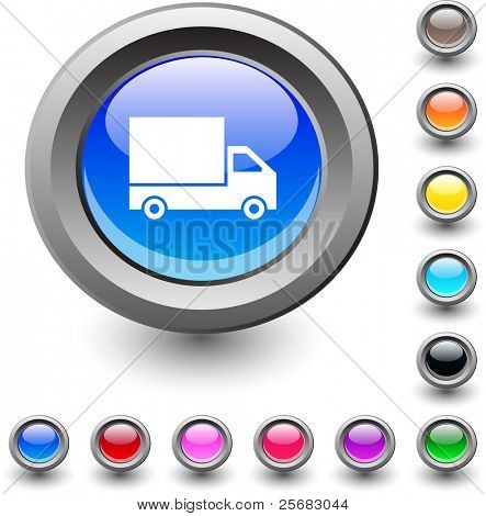 Delivery  metallic vibrant round icon.