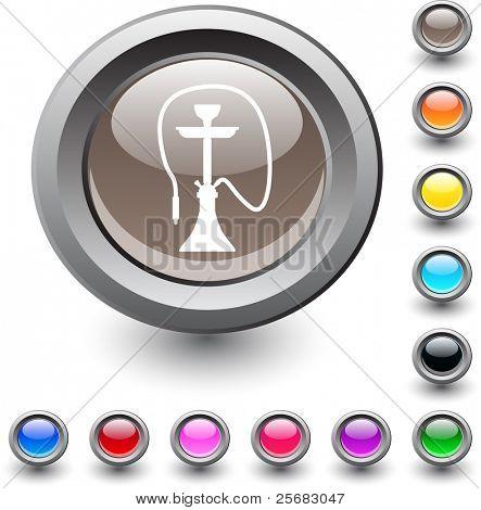 Icono redondo vibrante metálico cachimba.