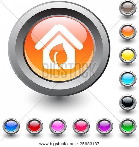 Green home  metallic vibrant round icon.