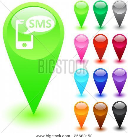 SMS glossy web buttons.