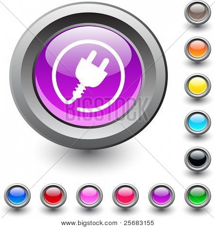 Power plug metallic vibrant round icon.