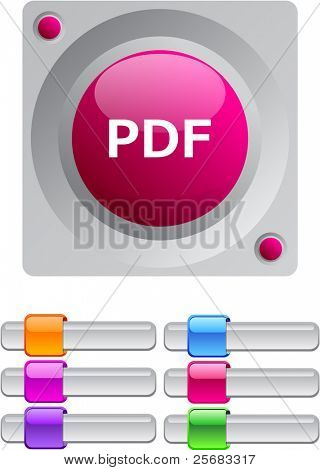 PDF vibrant round button with additional buttons.