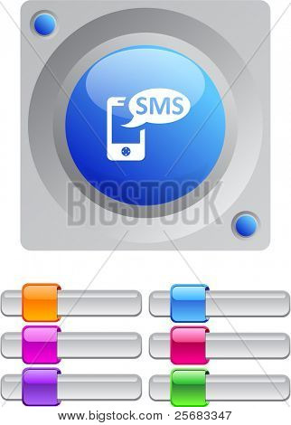 SMS vibrant round button with additional buttons.