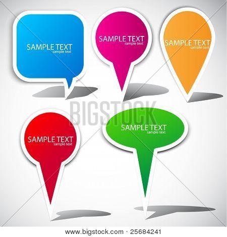 Burbujas coloridas para hablar. Elementos de la página web