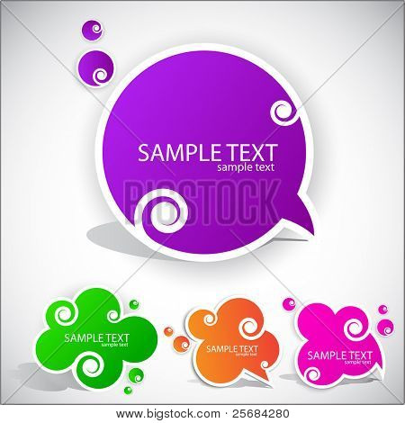 Colorful paper bubble for speech