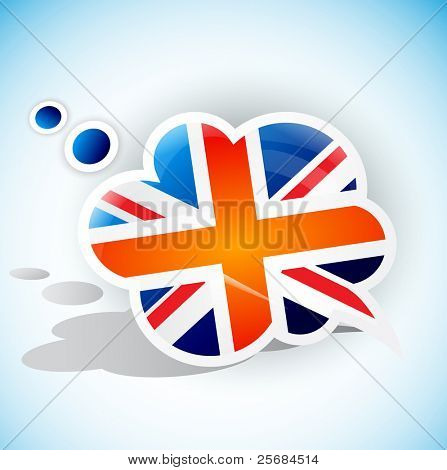 Flag of the United Kingdom. Speech bubble
