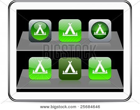 Tent Set of apps icons. Vector illustration doesn't contain transparency and other effects. EPS8 Only.