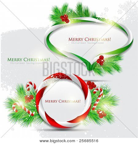 Abstract glossy speech bubble with Christmas candy. Vector background