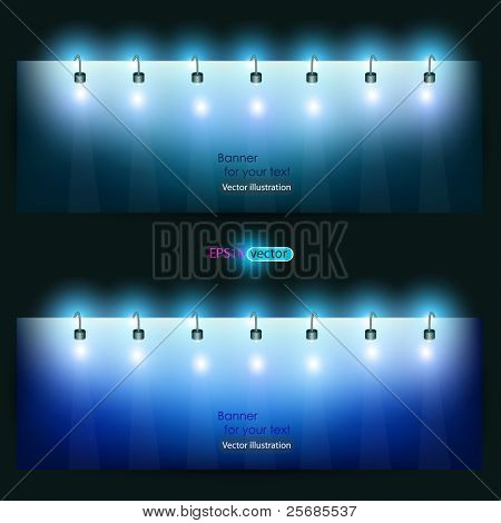 Empty banner  for product advertising with lighting