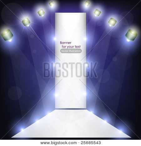 Empty podium for product advertising with lighting