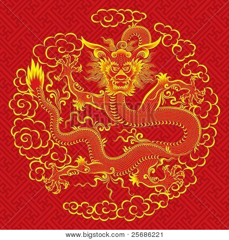 Red chinese dragon