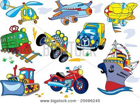 Vector cartoon juego de transporte