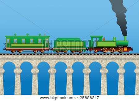 Vector illustration of a locomotive with a railcar