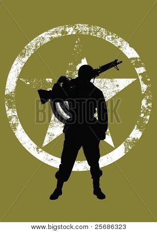 Silueta de vector de un soldado con una ametralladora