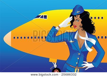Saluting flight attendant