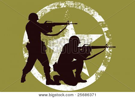 Vector silhouette of two soldiers with rifles.