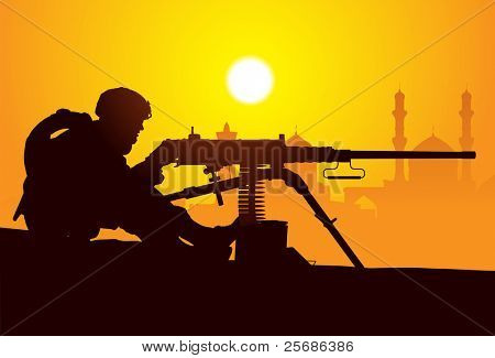Gunner. Silhouette of a soldier with a machine gun