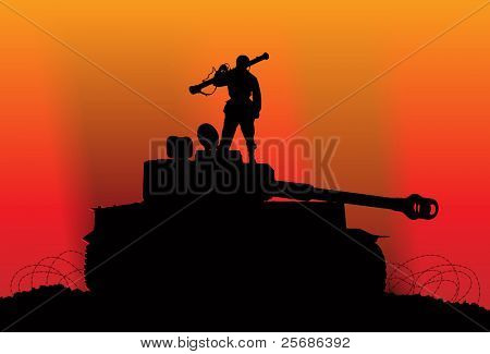 Victory. Silhouette of a soldier on the destroyed enemy tank