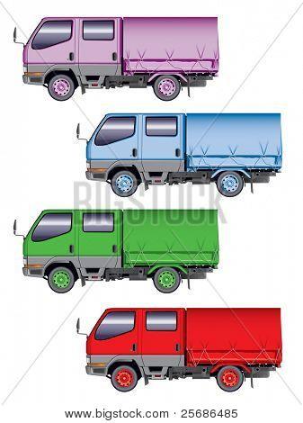 Illustration of four color mini-trucks