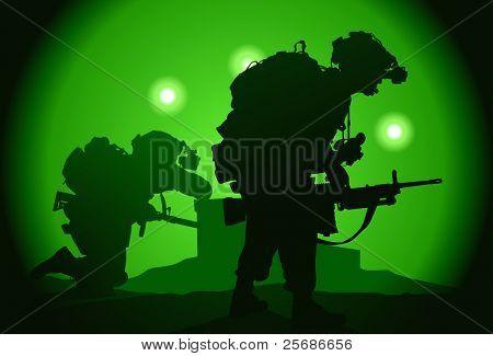 Dois E.U. soldados usado night vision goggles
