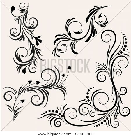 Black floral design elements