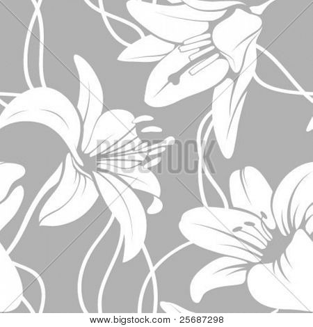Vector lilly seamless pattern