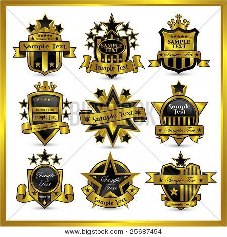 black gold framed vector labels