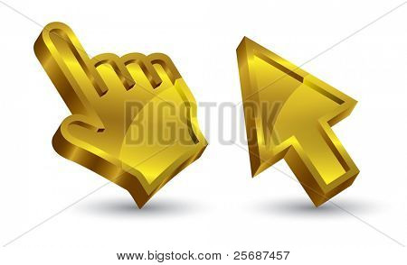 cursor de mano 3d vector de oro