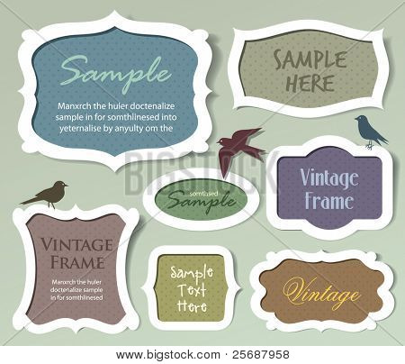 Set of vector frames and labels