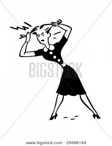 Angry Woman Pulling Out Hair - Retro Clipart Illustration