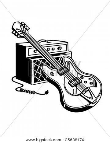 Electric Guitar And Amplifier - Retro Clipart Illustration