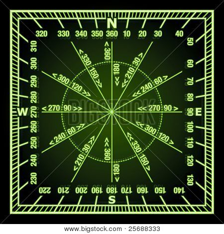 Glowing in the Dark Green Navigation Grid with Direct and Reverse Course Designation. Vector Illustration