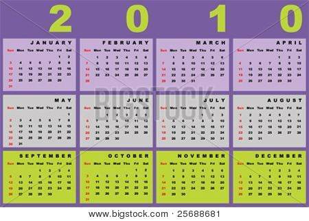 Calendar for 2010-horizontal