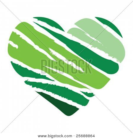 Green Heart with stripes