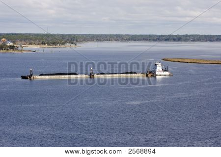 Mississippi River Barge And Tug Boat