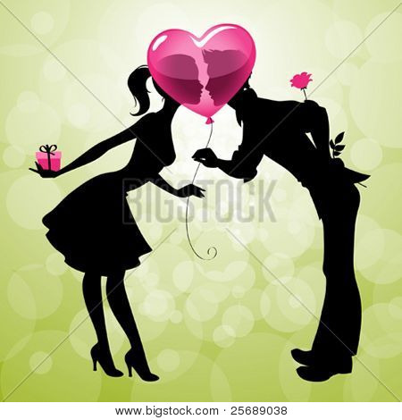 Illustration of a cute couple kissing behind heart-shaped balloon