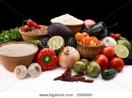 Fresh Ingrediants For Salsa, Rice. Beans And Tortillas Blaack Background
